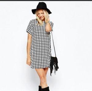 Abercrombie & Fitch Shirt Black White Shift Dress